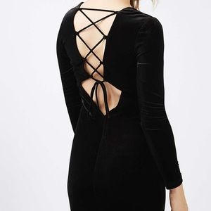Topshop Black velvet dress 2